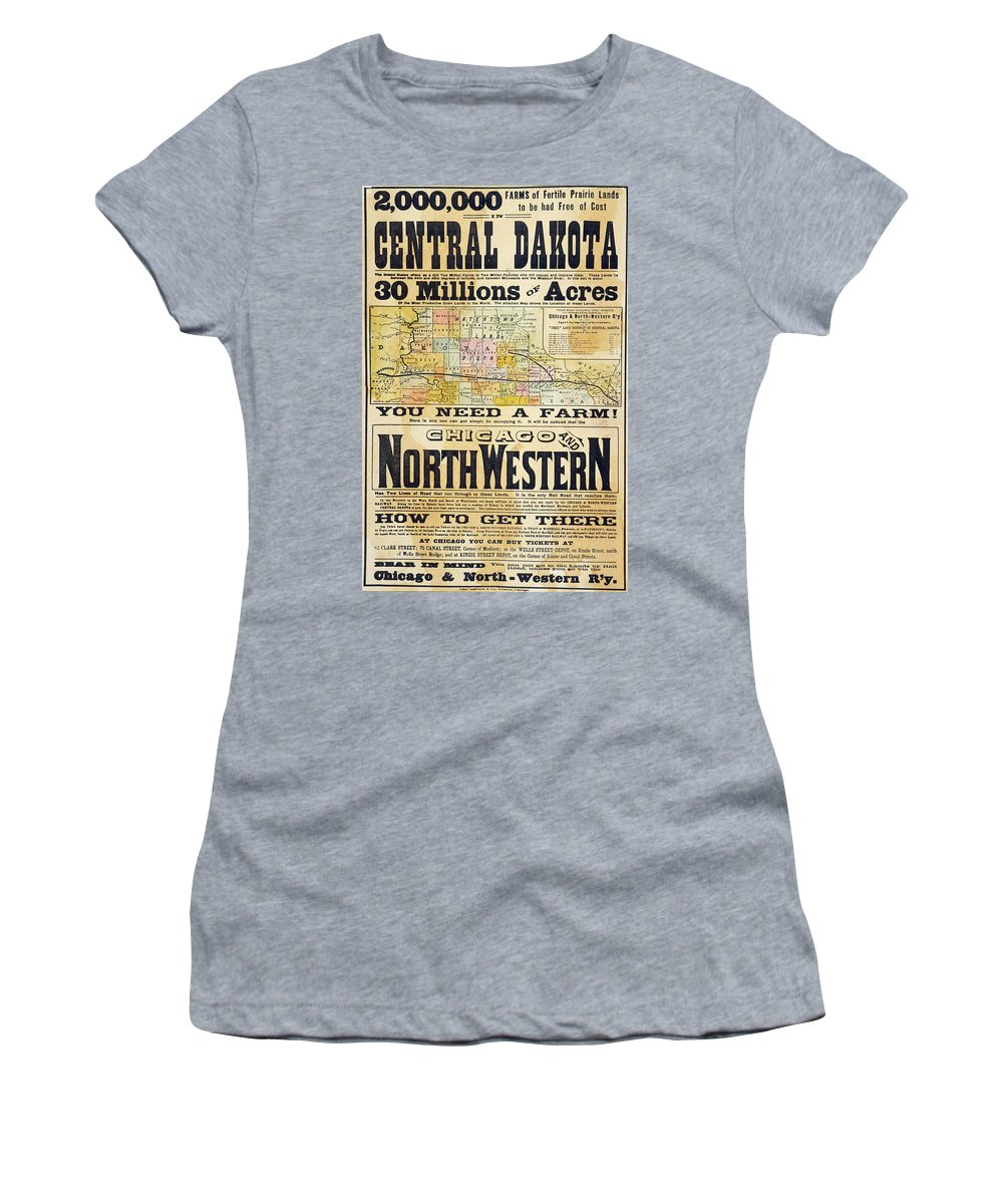 1870 Women's T-Shirt (Athletic Fit) featuring the painting Railway Poster, 1870s by Granger