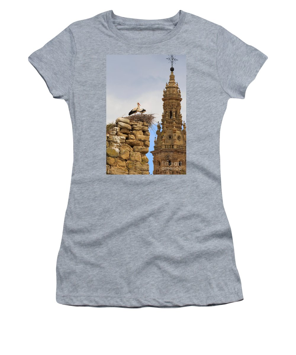 Storks Women's T-Shirt featuring the photograph Santo Domingo De La Calzada by Louise Heusinkveld