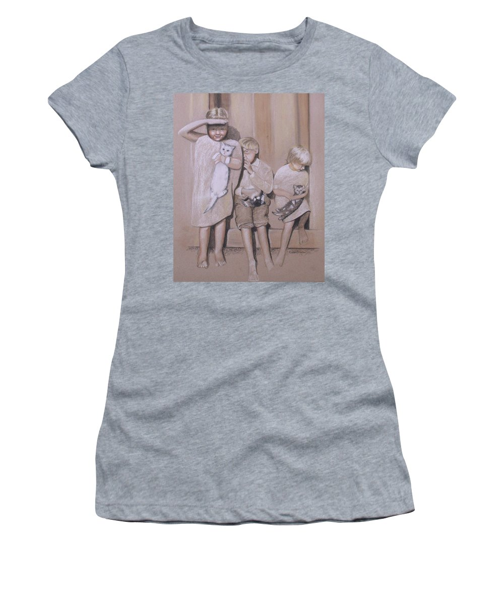 Siblings Women's T-Shirt featuring the drawing Siblings by Kathy Weidner
