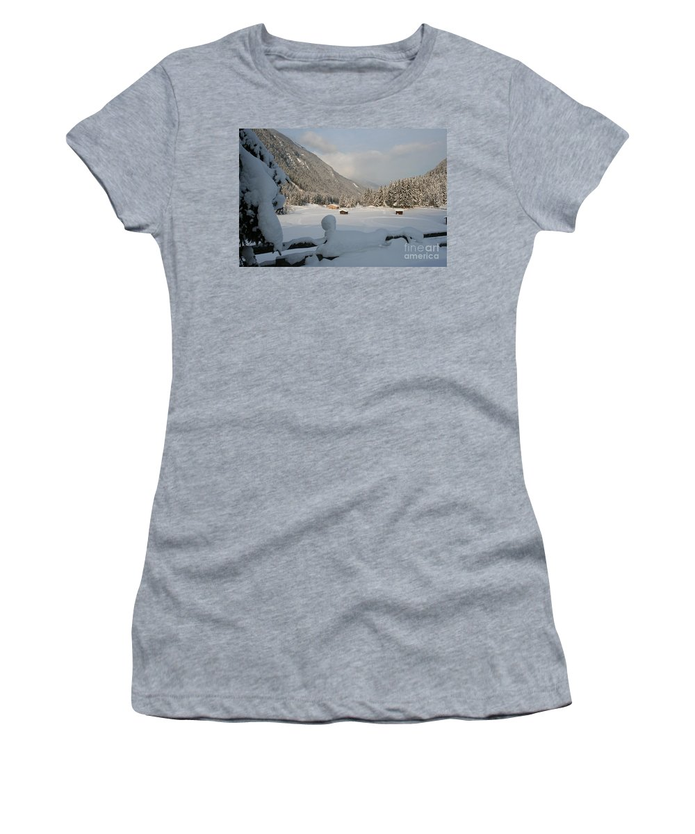 Snow Women's T-Shirt featuring the photograph Snowed Under by Christiane Schulze Art And Photography