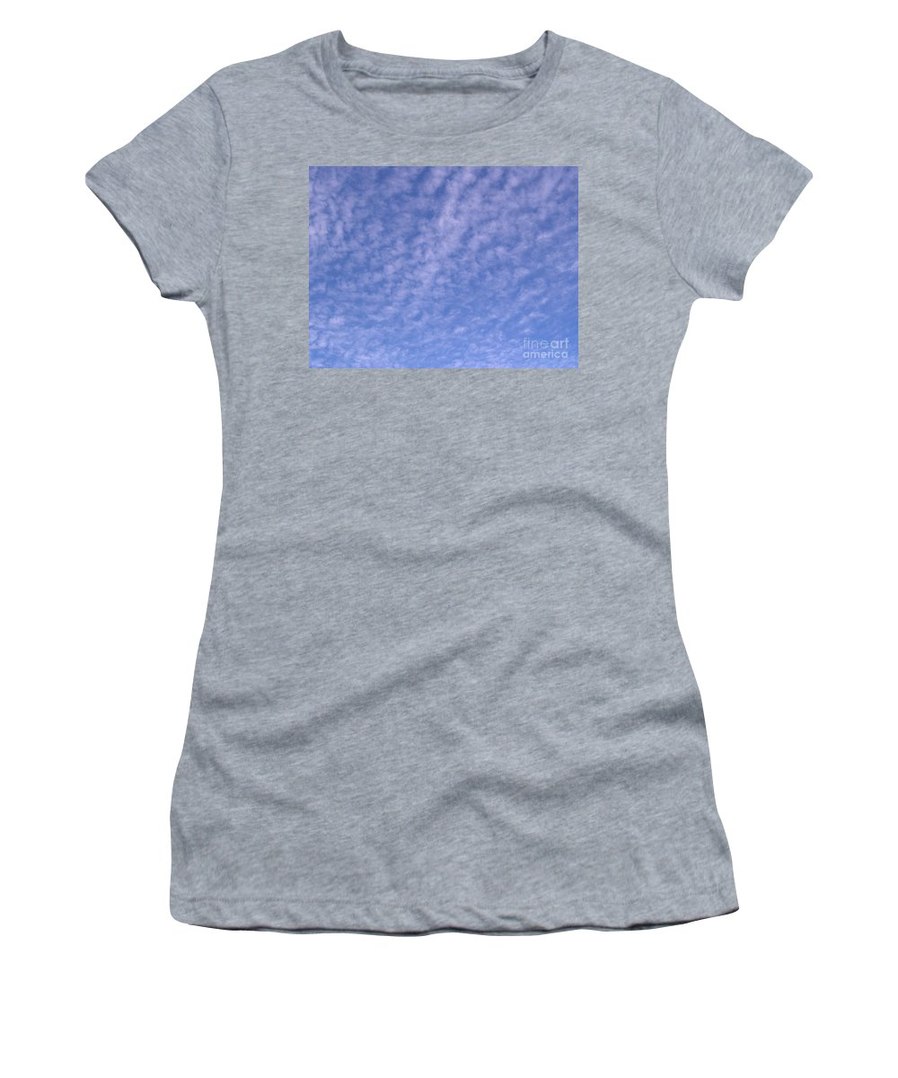 Clouds Women's T-Shirt featuring the photograph Soft Clouds In The Blue Sky by D Hackett