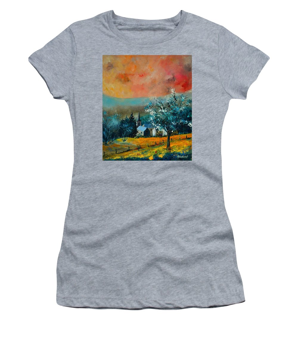 Landscape Women's T-Shirt featuring the painting Spring In Gendron by Pol Ledent