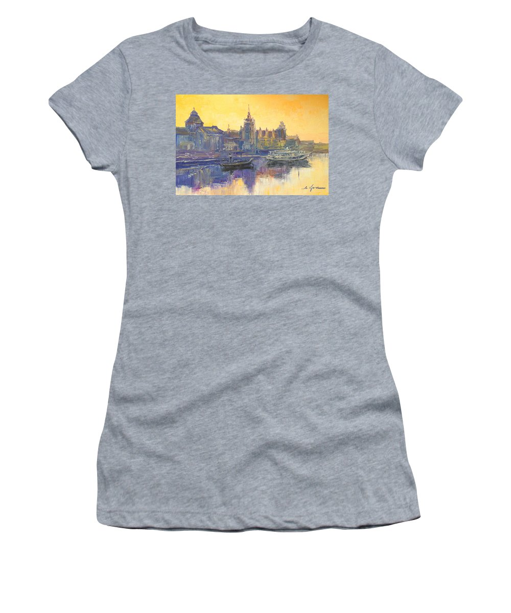 Szczecin Women's T-Shirt featuring the painting Szczecin - Poland by Luke Karcz