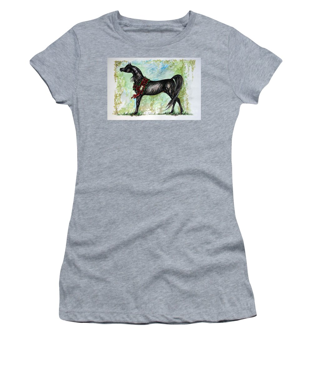 Horse Women's T-Shirt (Athletic Fit) featuring the painting The Champion by Angel Ciesniarska