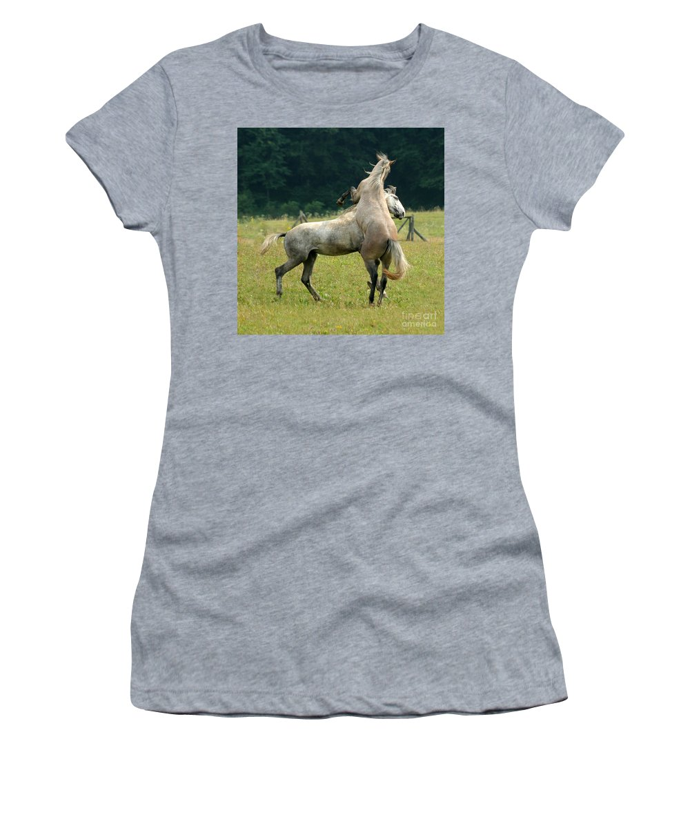 Horse Women's T-Shirt (Athletic Fit) featuring the photograph The Fight by Angel Ciesniarska