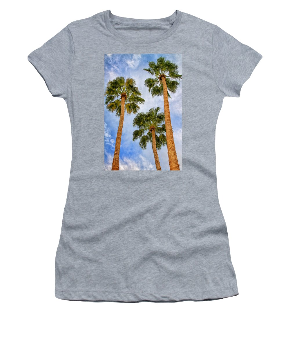 Palm Springs Women's T-Shirt featuring the photograph THREE PALMS Palm Springs by William Dey