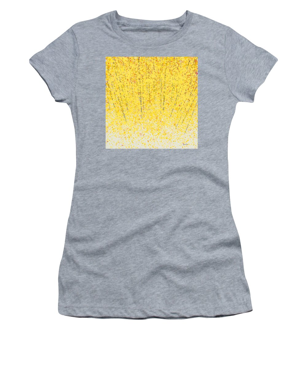 Women's T-Shirt featuring the painting Trees At Twilight Xv by Jerome Lawrence
