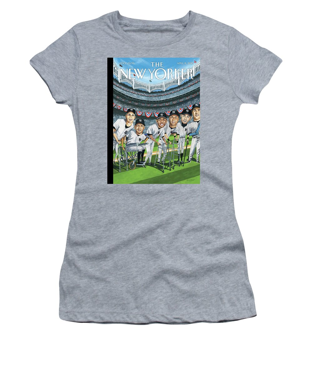 Yankees Women's T-Shirt featuring the painting Hitting Forty by Mark Ulriksen