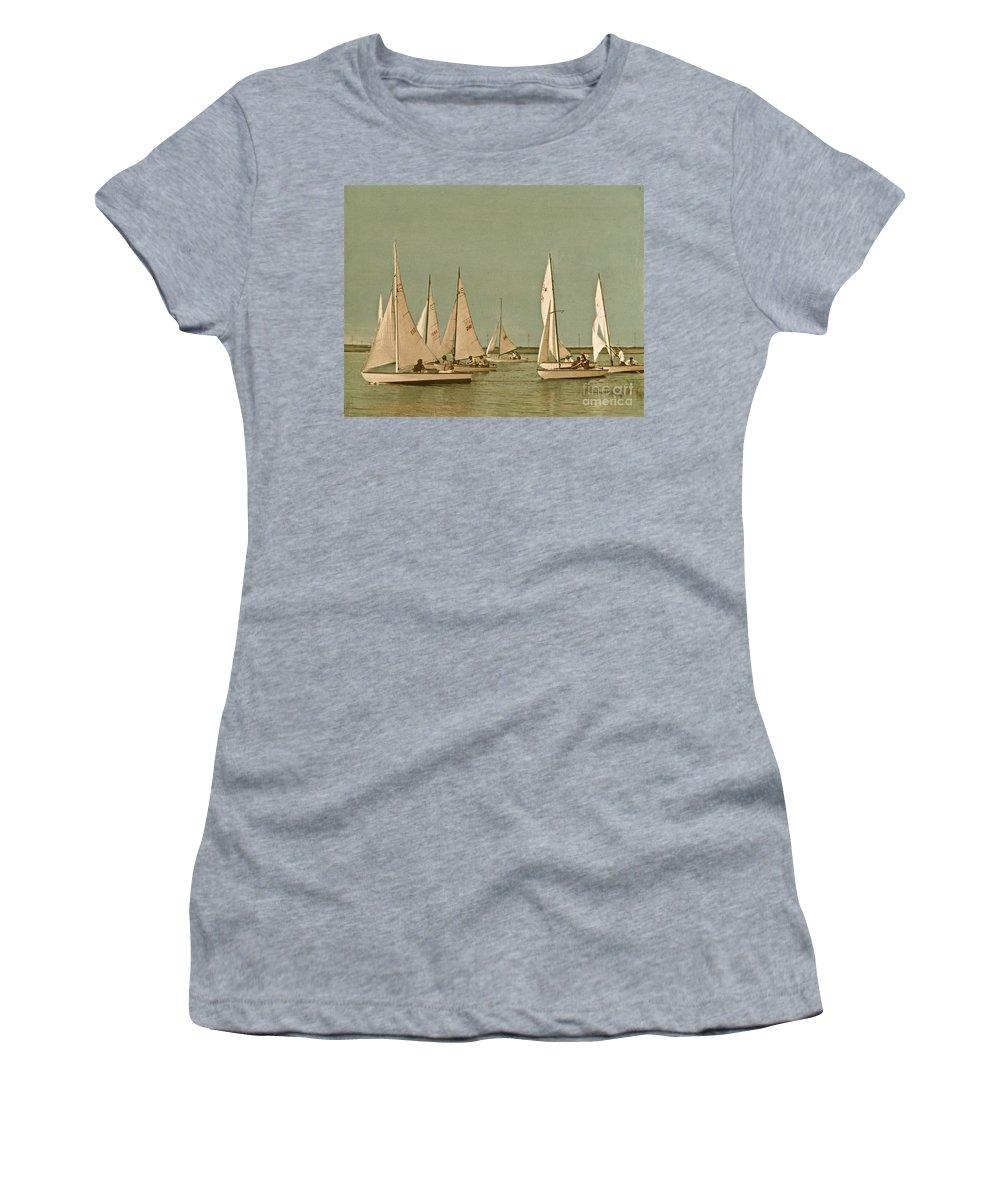 Comet Class Sailboat Women's T-Shirt featuring the photograph Vintage Comet Race by Nancy Patterson