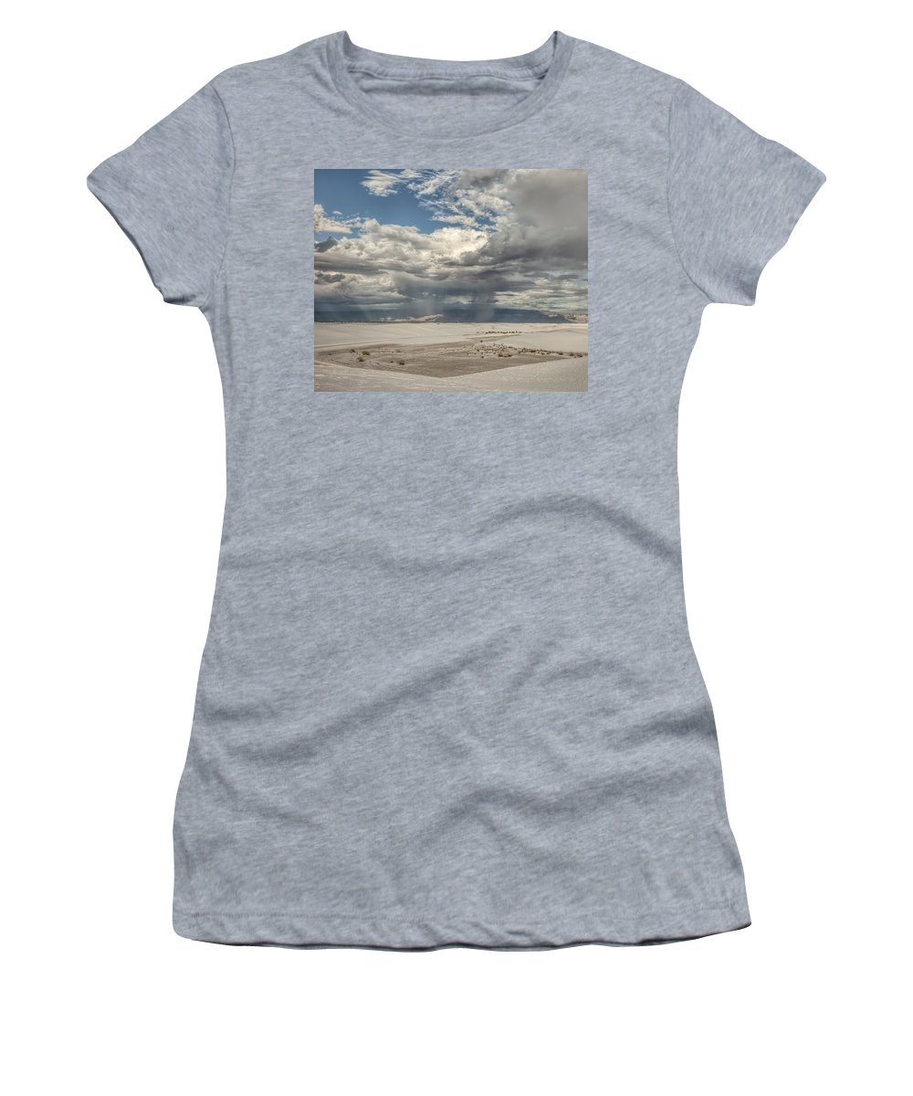 New Mexico Women's T-Shirt featuring the photograph White Sands Rain by Diana Powell