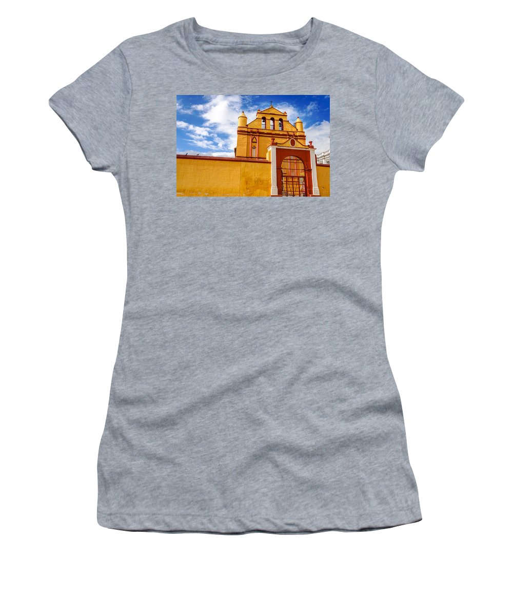 Cristobal Women's T-Shirt (Athletic Fit) featuring the photograph Yellow Colonial Church by Jess Kraft