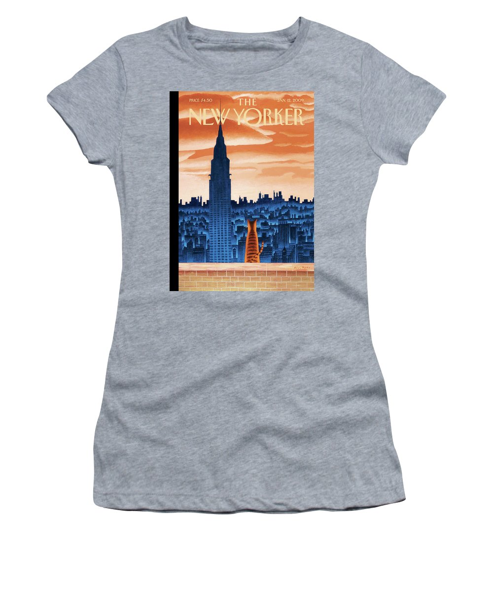 Nyc Women's T-Shirt featuring the painting The High Life by Mark Ulriksen
