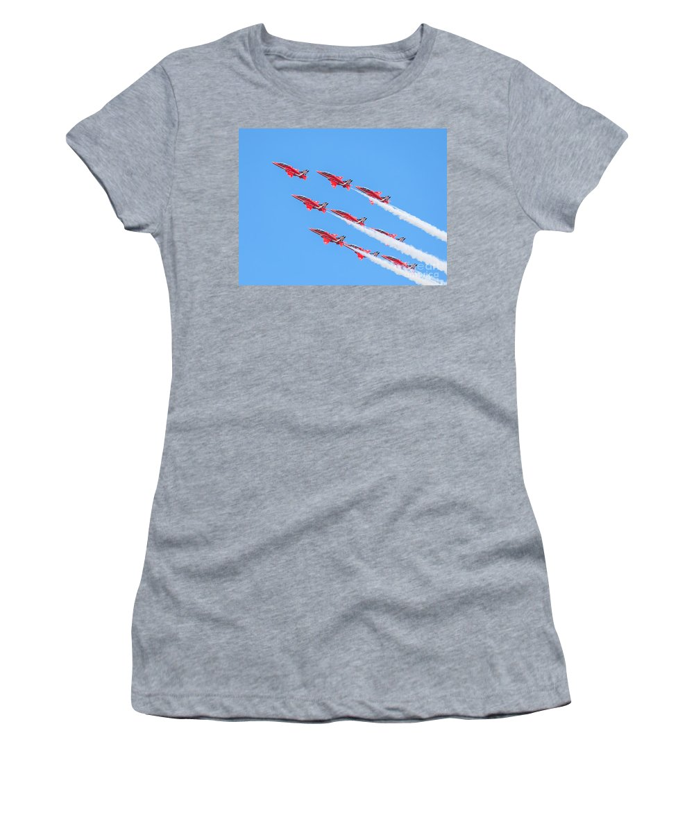 2014 Women's T-Shirt featuring the photograph Red Arrows by Shaun Wilkinson