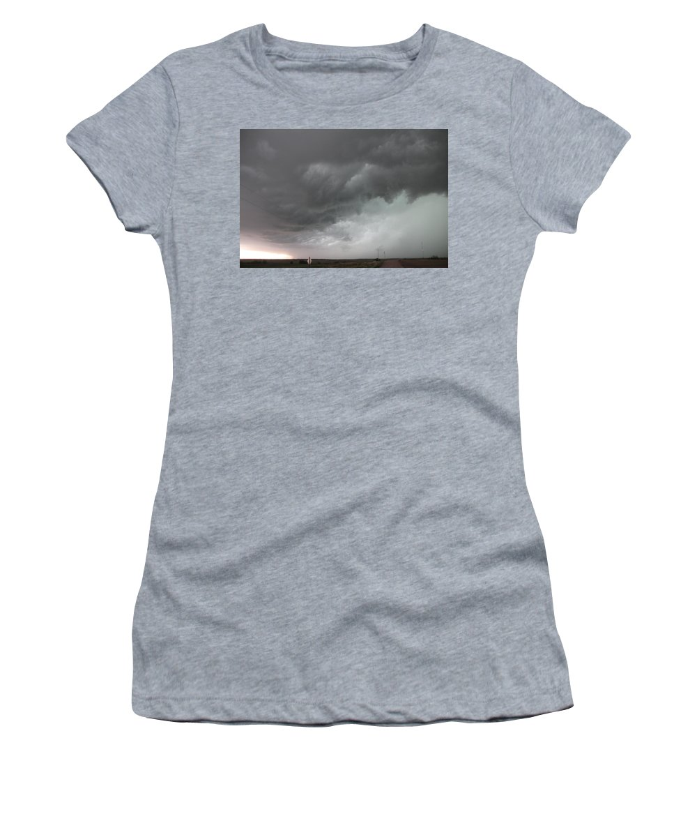 Stormscape Women's T-Shirt (Athletic Fit) featuring the photograph Nebraska Panhandle Supercells by NebraskaSC