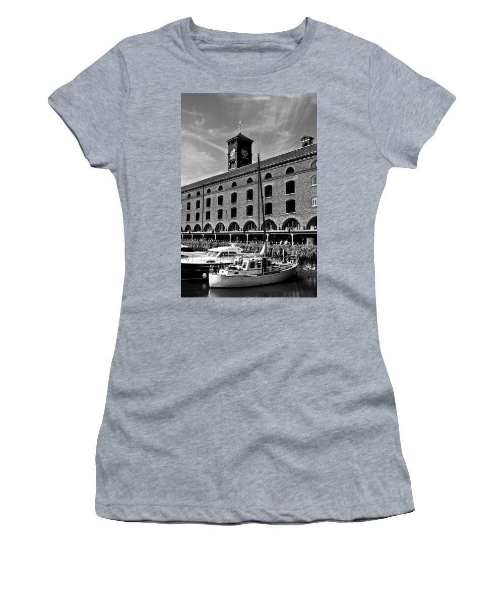 River Thames Women's T-Shirt (Athletic Fit) featuring the photograph St Katherines Dock London by David Pyatt