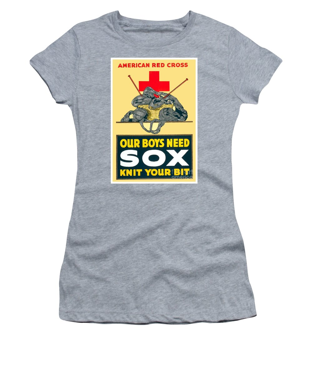1917 Women's T-Shirt featuring the digital art 1918- Red Cross Poster - World War One - Color by John Madison