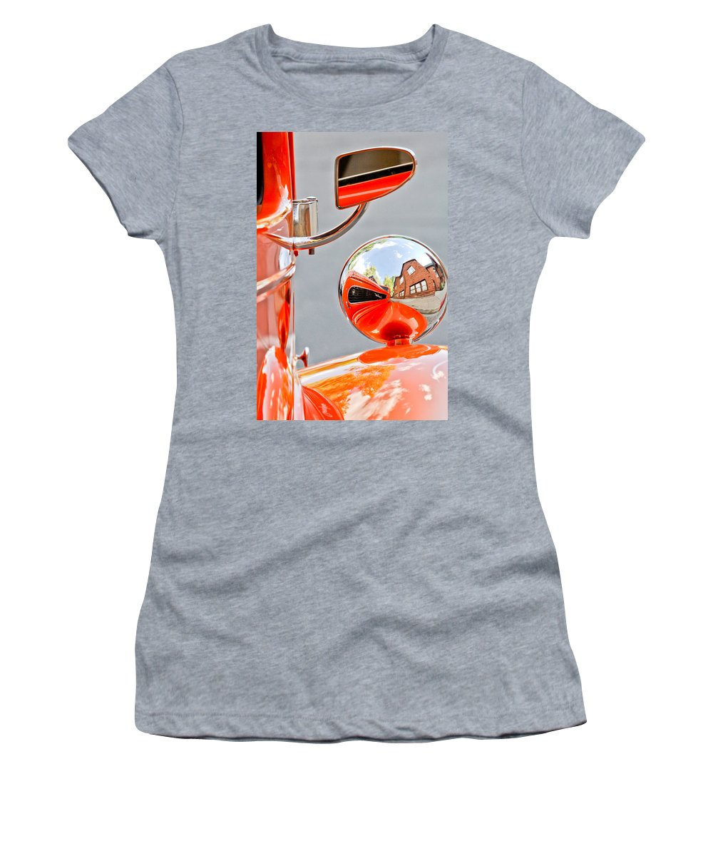 1948 Anglia Rearview Mirror Women's T-Shirt featuring the photograph 1948 Anglia Rear View Mirror -451c by Jill Reger