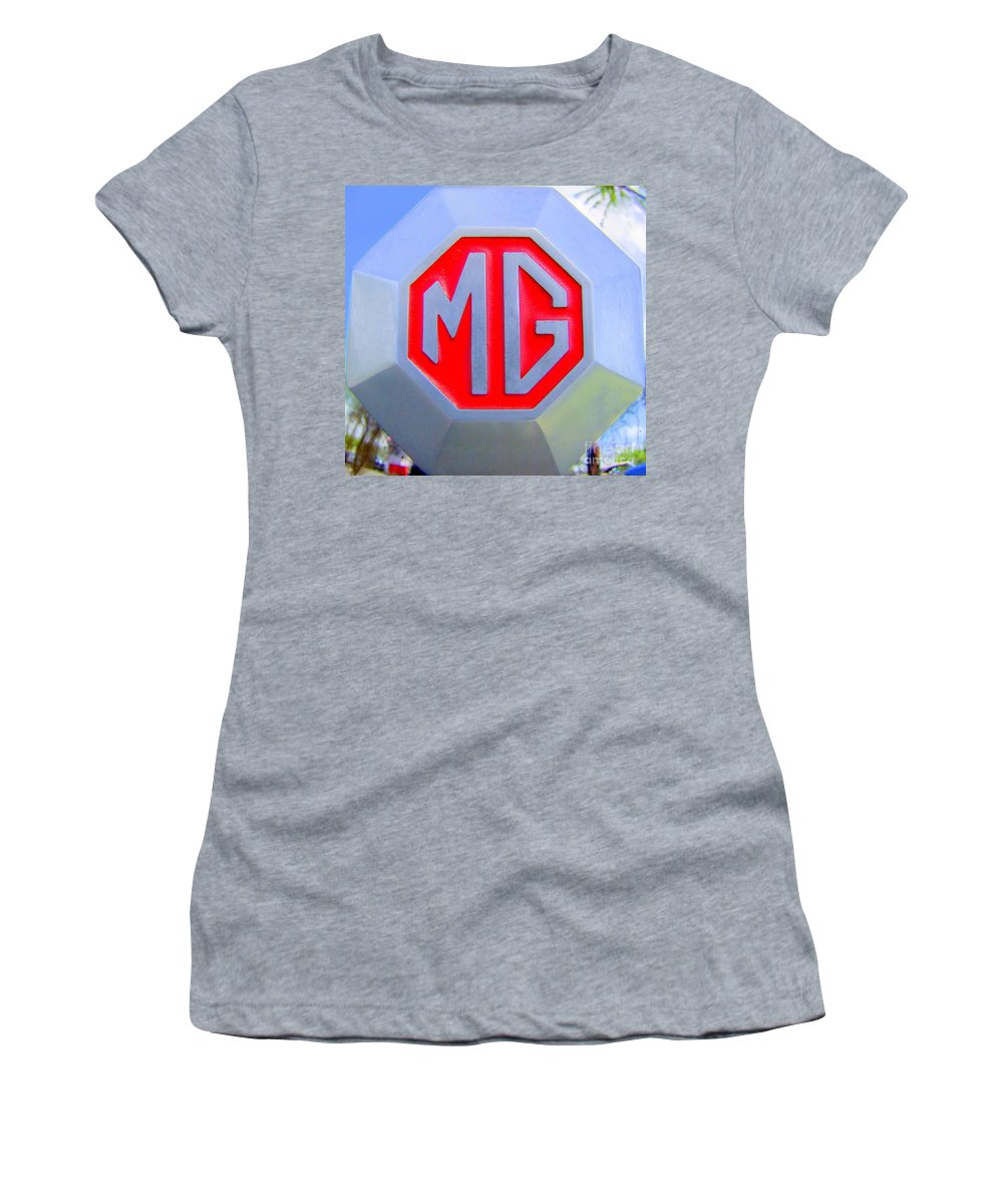 1952 Mg Roadster Women's T-Shirt (Athletic Fit) featuring the photograph 1952 Mg Roadster Emblem by Mary Deal