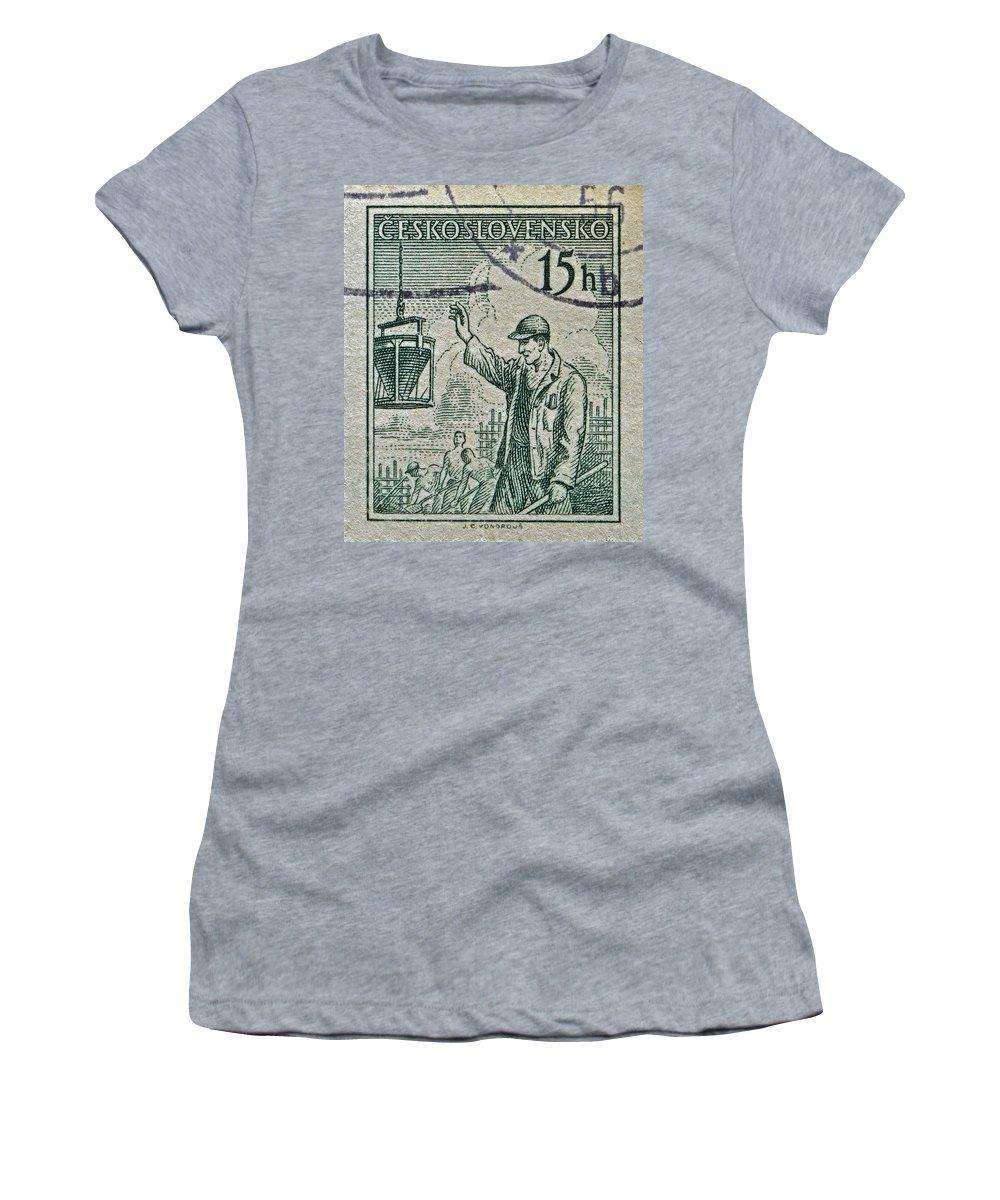 1954 Women's T-Shirt featuring the photograph 1954 Czechoslovakian Construction Worker Stamp by Bill Owen