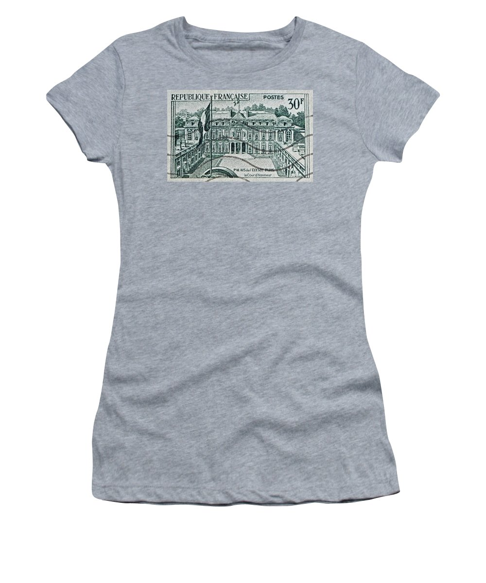 1957 Women's T-Shirt (Athletic Fit) featuring the photograph 1957 Palais Del Elysee Paris Stamp by Bill Owen