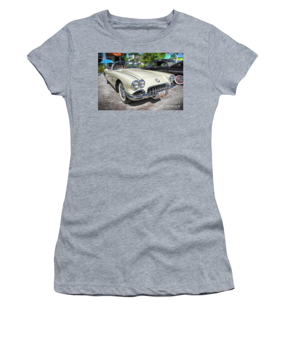 1959 Corvette Women's T-Shirt (Athletic Fit) featuring the photograph 1959 Corvette by David B Kawchak Custom Classic Photography