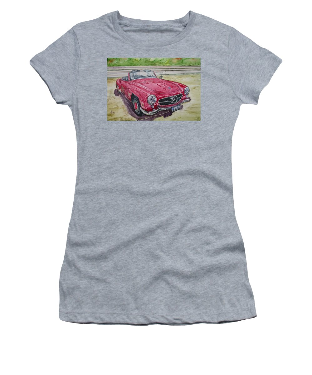 Watercolor Women's T-Shirt (Athletic Fit) featuring the painting 1962 Mercedes Benz 190sl by Anna Ruzsan