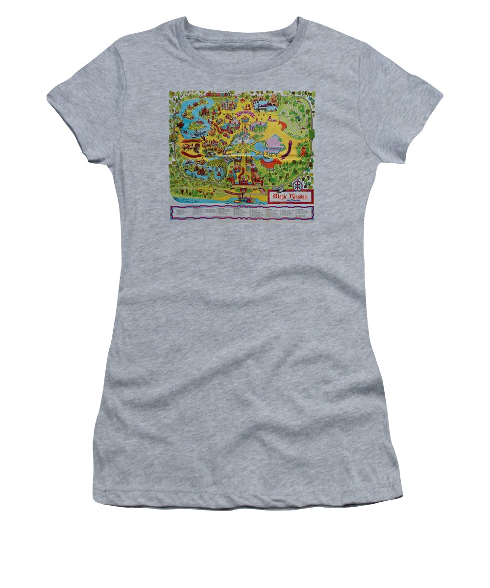 Walt Disney World Women's T-Shirt featuring the photograph 1971 Original Map Of The Magic Kingdom 1971 by Rob Hans
