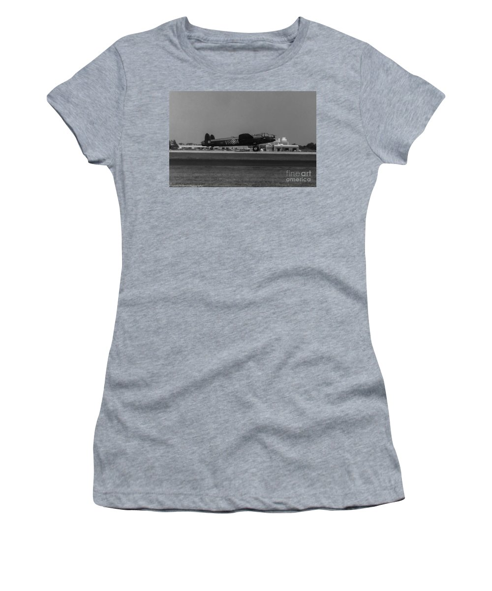 Raf Avro Lancaster Women's T-Shirt featuring the photograph Avro Lancaster by Tommy Anderson