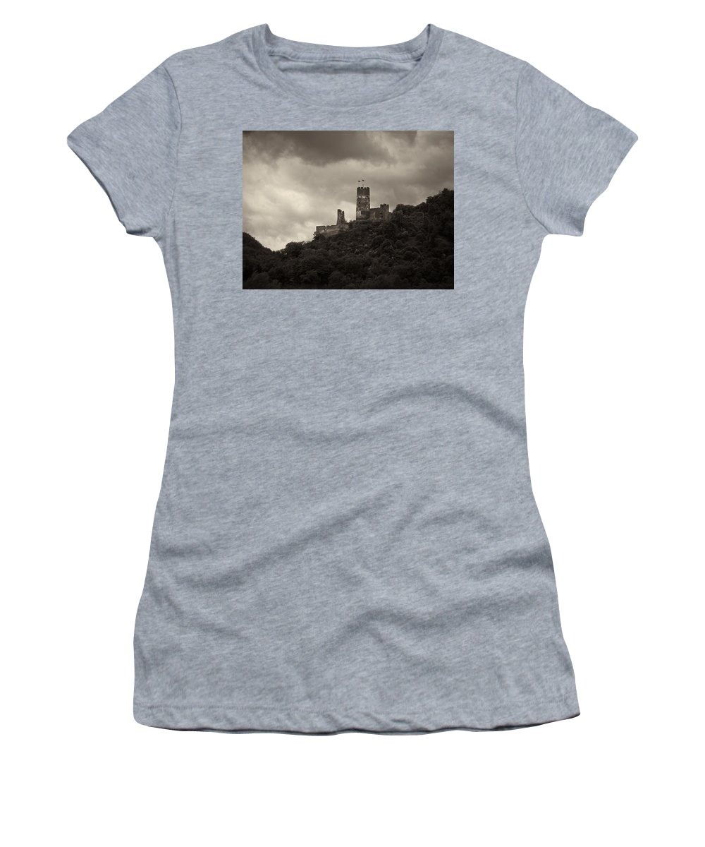 Alankomaat Women's T-Shirt (Athletic Fit) featuring the photograph Burgruine Furstenberg Rheindiebach by Jouko Lehto