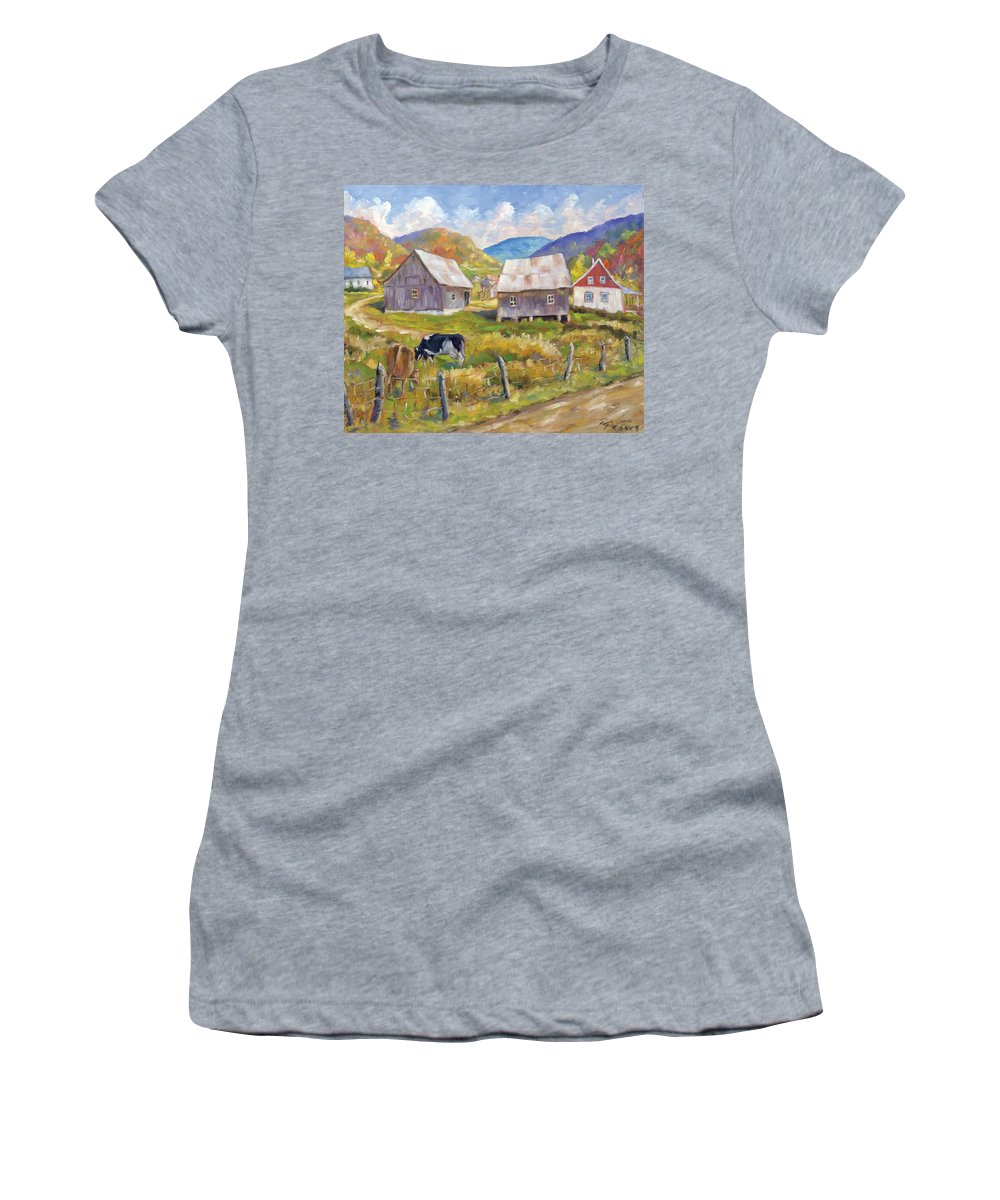 Art Women's T-Shirt (Athletic Fit) featuring the painting Charlevoix North by Richard T Pranke