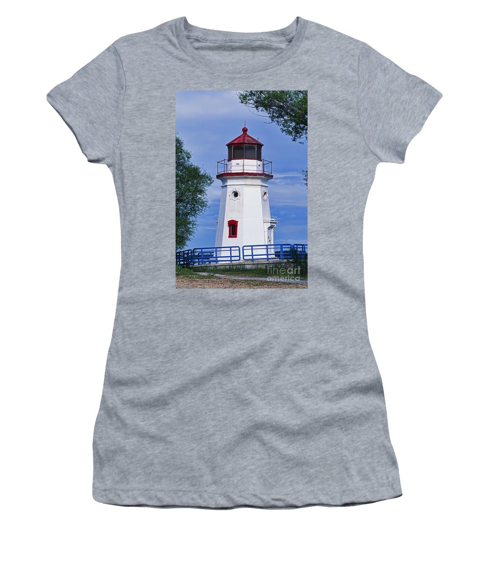 Architectural Women's T-Shirt (Athletic Fit) featuring the photograph Cheboygan Crib Light by David Davis