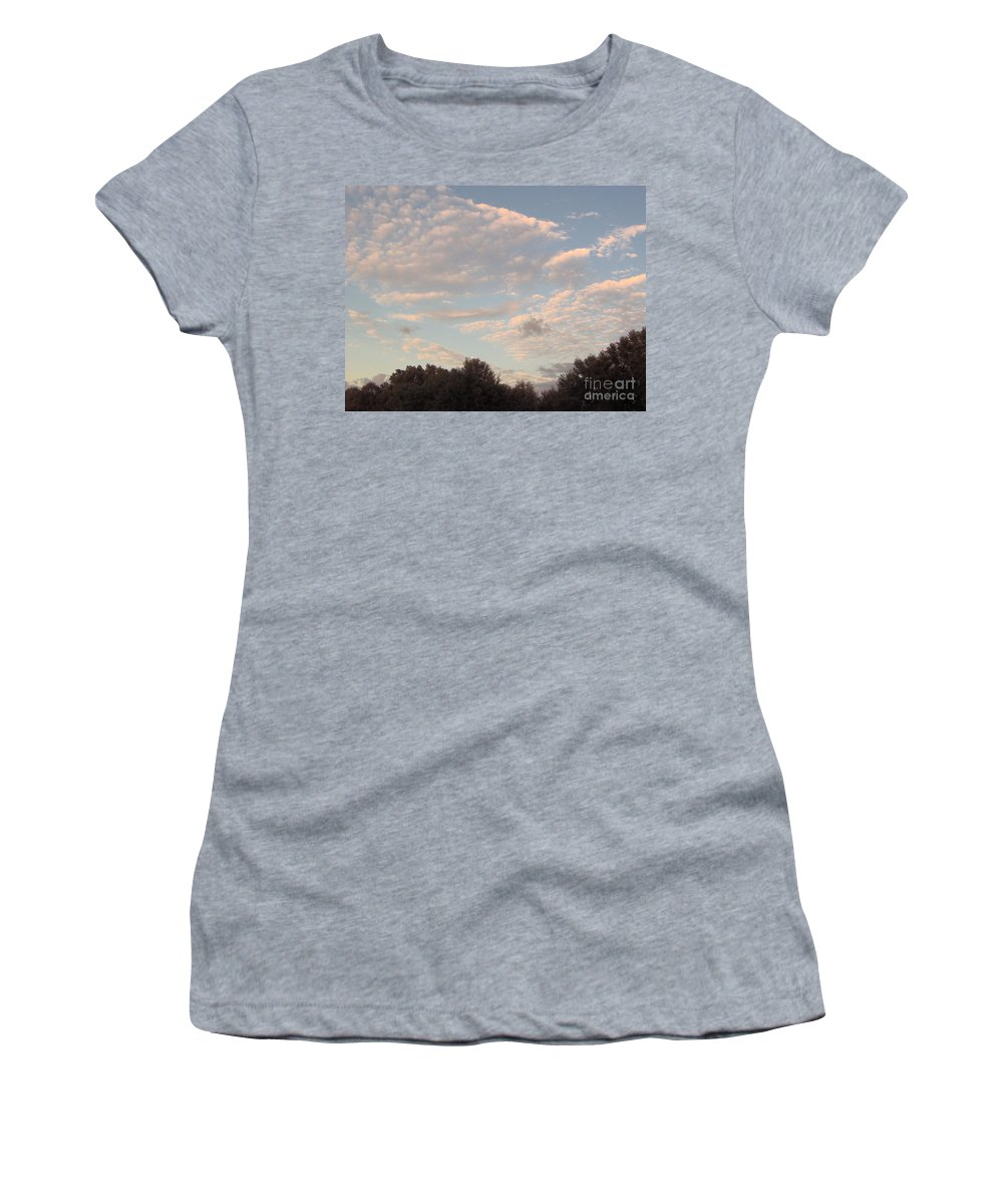 Clouds Women's T-Shirt featuring the photograph Clouds Above The Trees by D Hackett