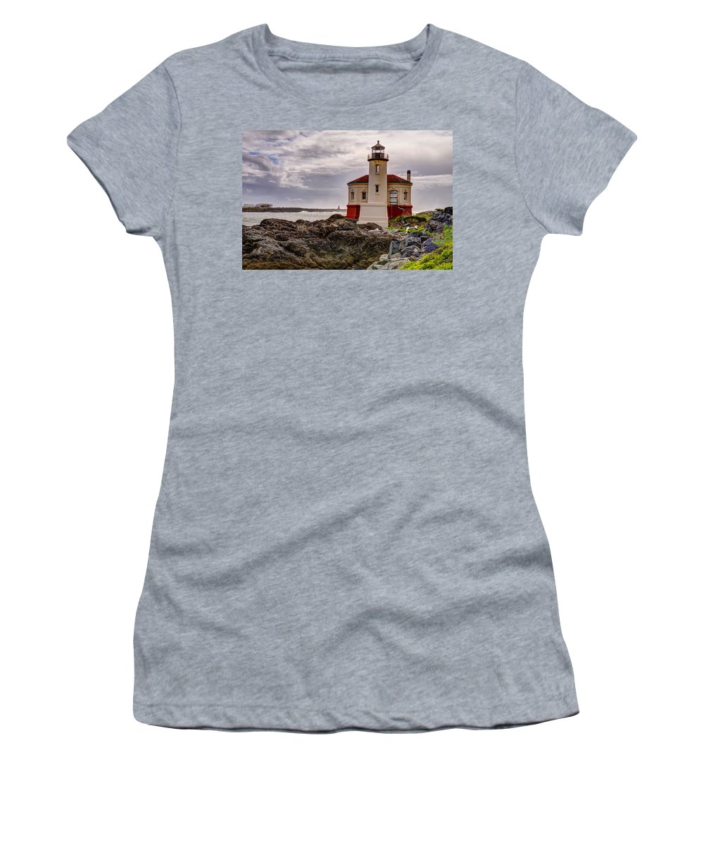 Bandon Women's T-Shirt featuring the photograph Coquille River Lighthouse by John Trax