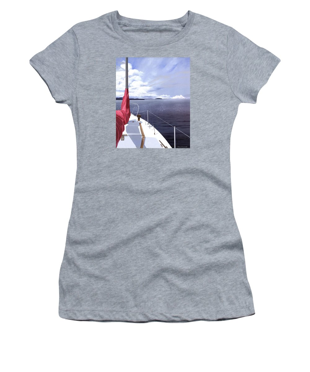 Sailing Women's T-Shirt featuring the painting Cruising North by Gary Giacomelli