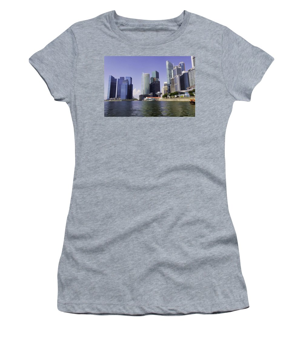 Building Women's T-Shirt featuring the photograph Financial District Of Singapore And View Of The Water In Singapore by Ashish Agarwal