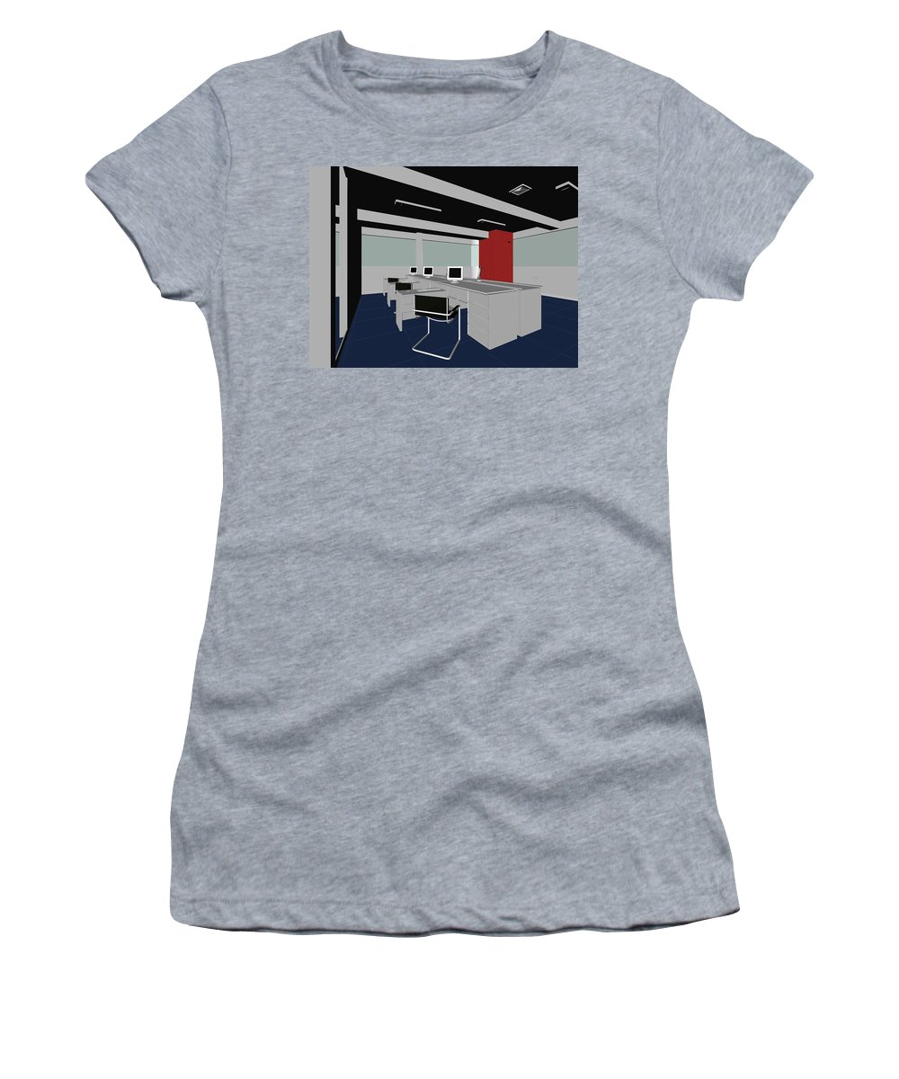 Boss Women's T-Shirt featuring the digital art Interior Office Rooms by Nenad Cerovic
