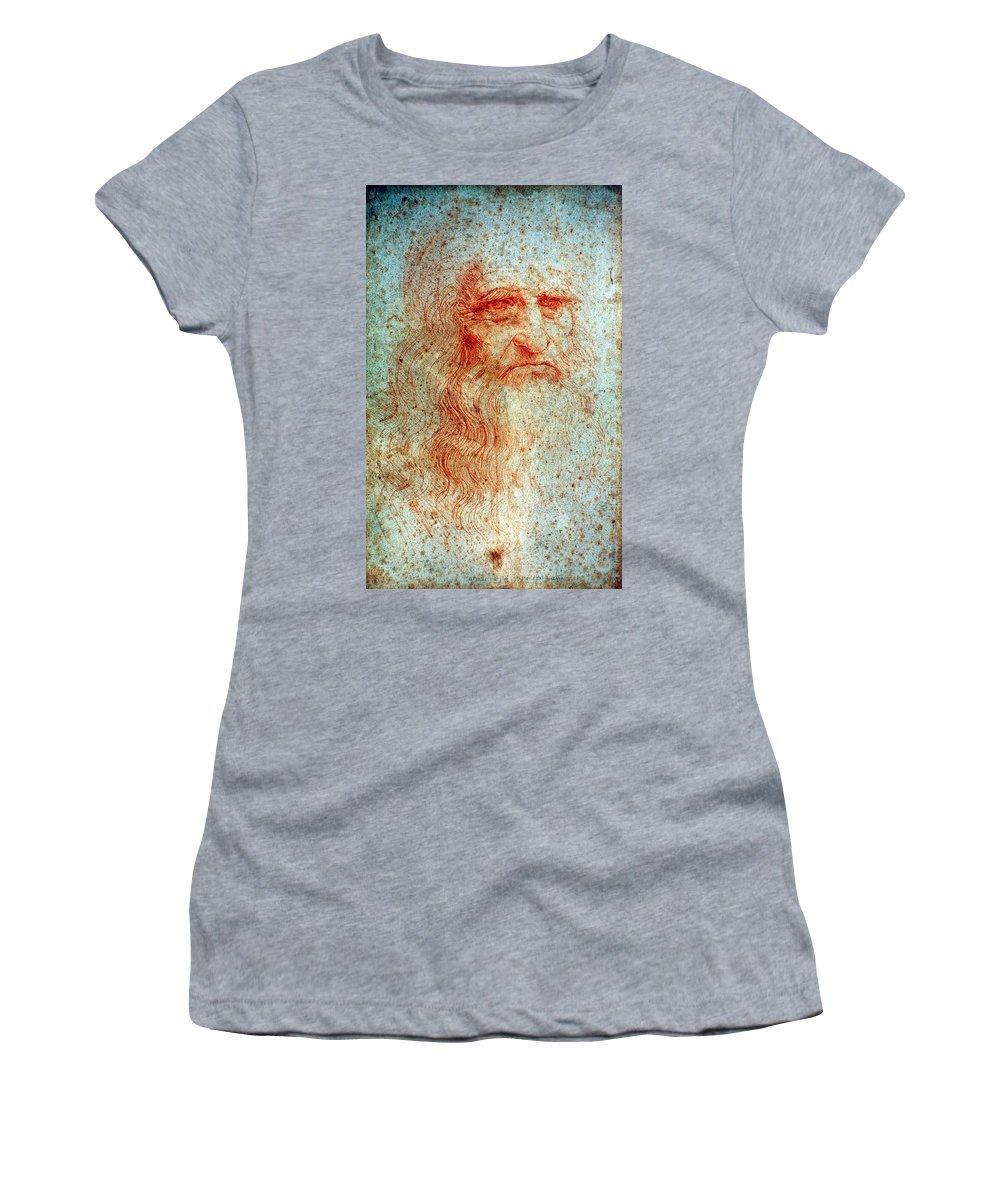 1514 Women's T-Shirt (Athletic Fit) featuring the drawing Leonardo Da Vinci (1452-1519) by Granger