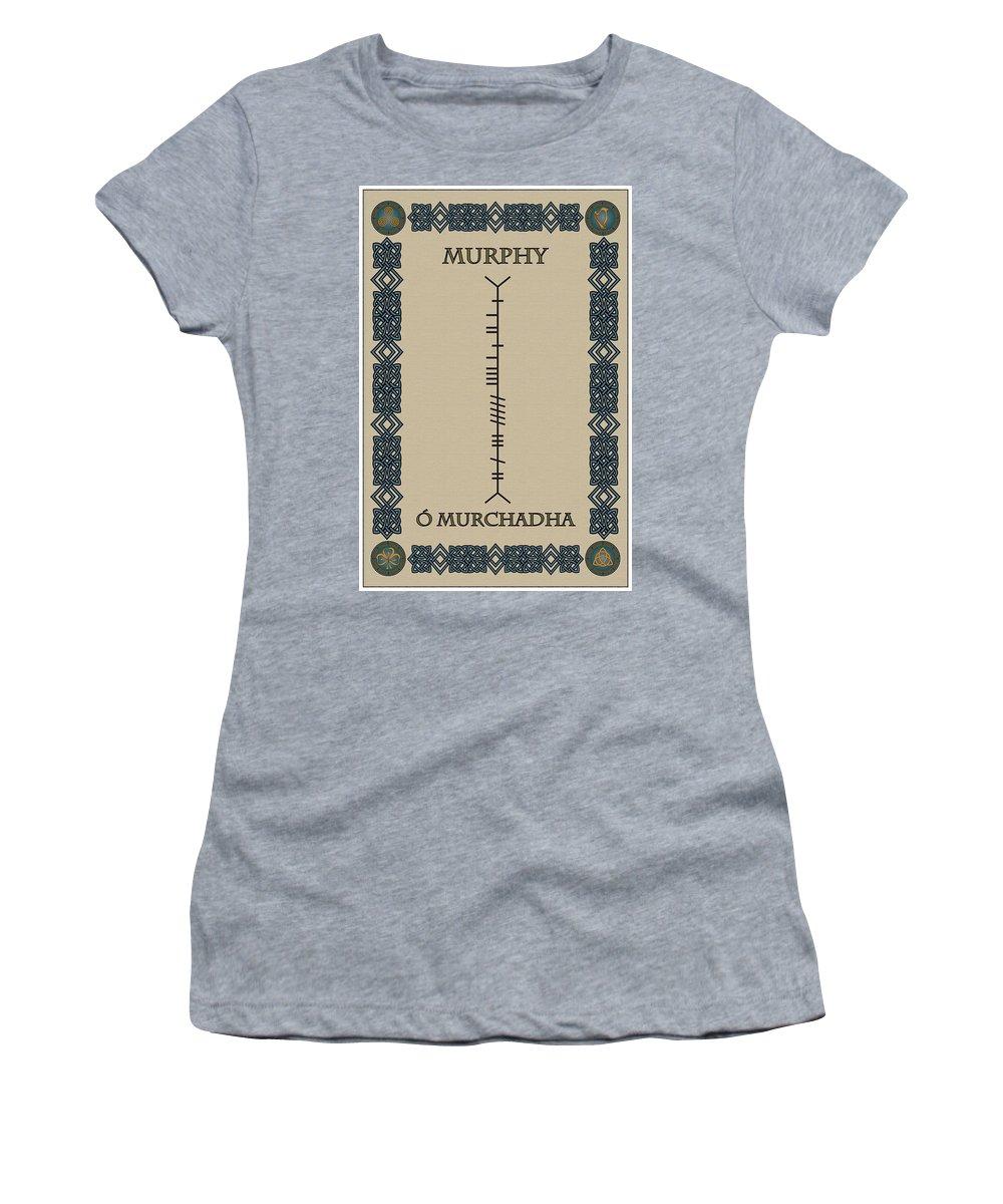 Murphy Women's T-Shirt featuring the digital art Murphy Written In Ogham by Ireland Calling