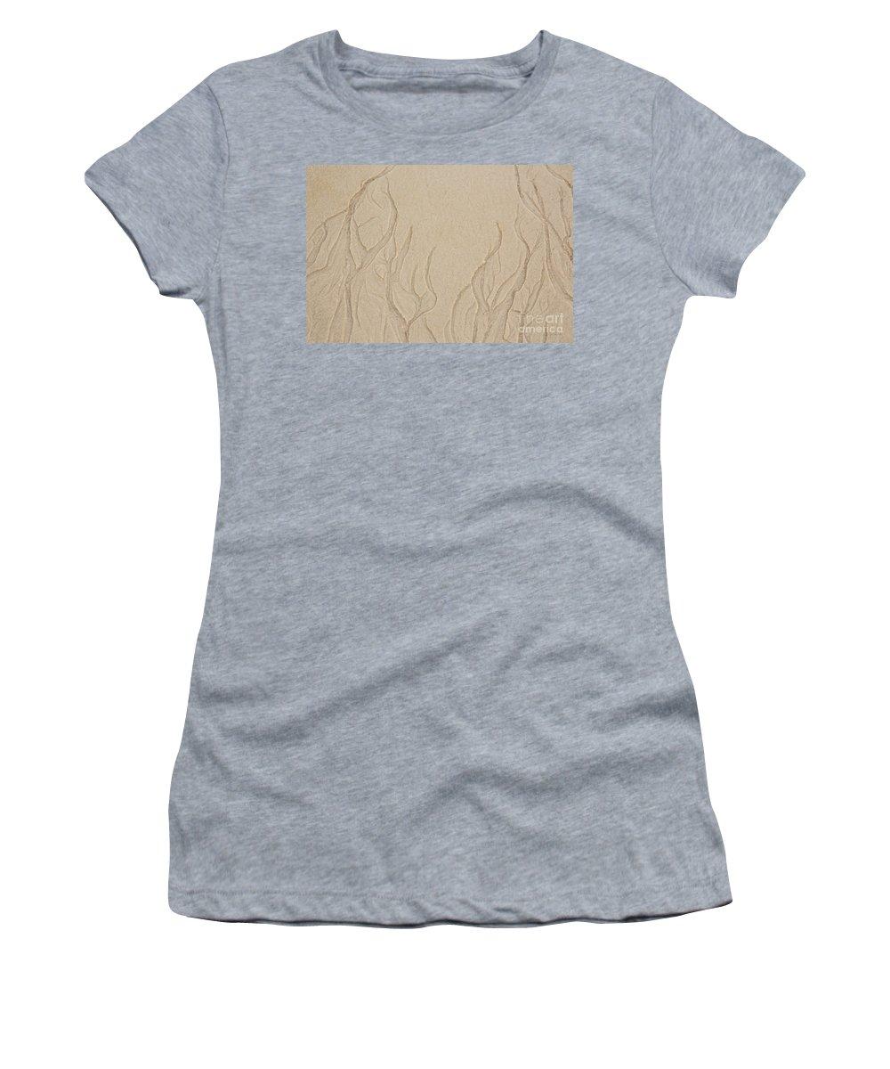Iris Holzer Richardson Women's T-Shirt featuring the photograph Ocean Sand Art Below by Iris Richardson