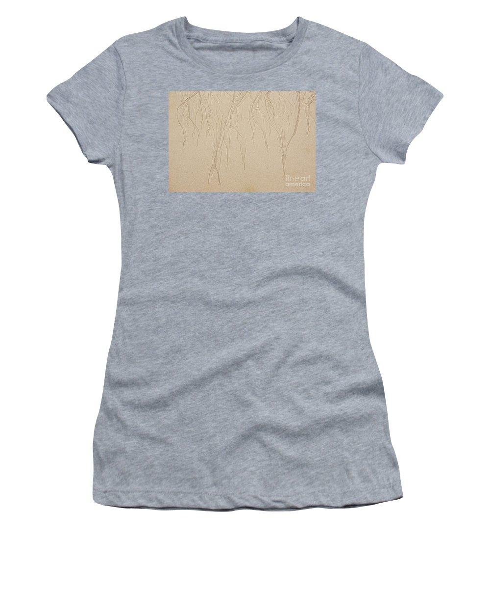 Iris Holzer Richardson Women's T-Shirt (Athletic Fit) featuring the photograph Ocean Sand Art Design From Top by Iris Richardson