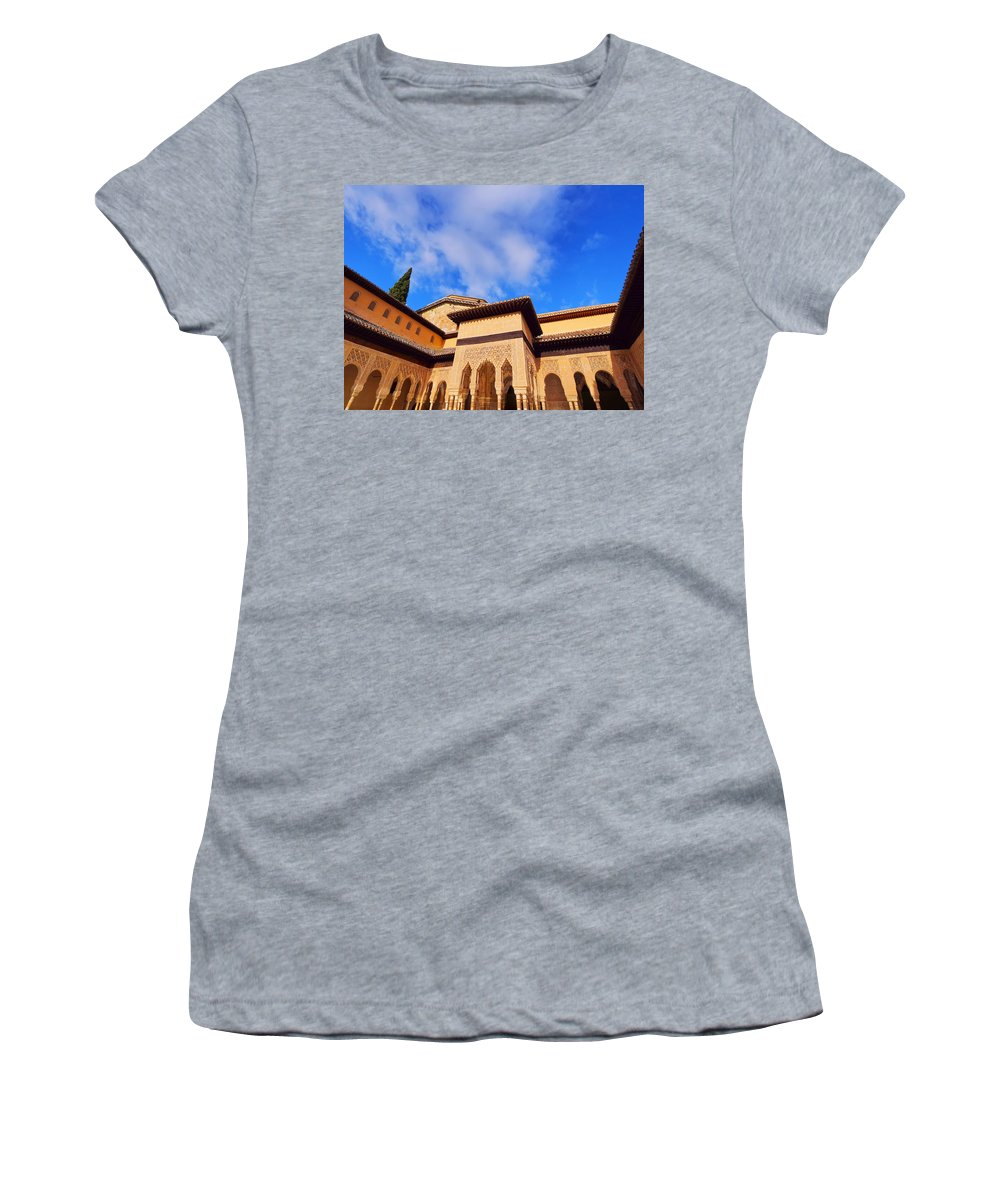 Horizontal Women's T-Shirt featuring the photograph Palacios Nazaries In Granada by Karol Kozlowski