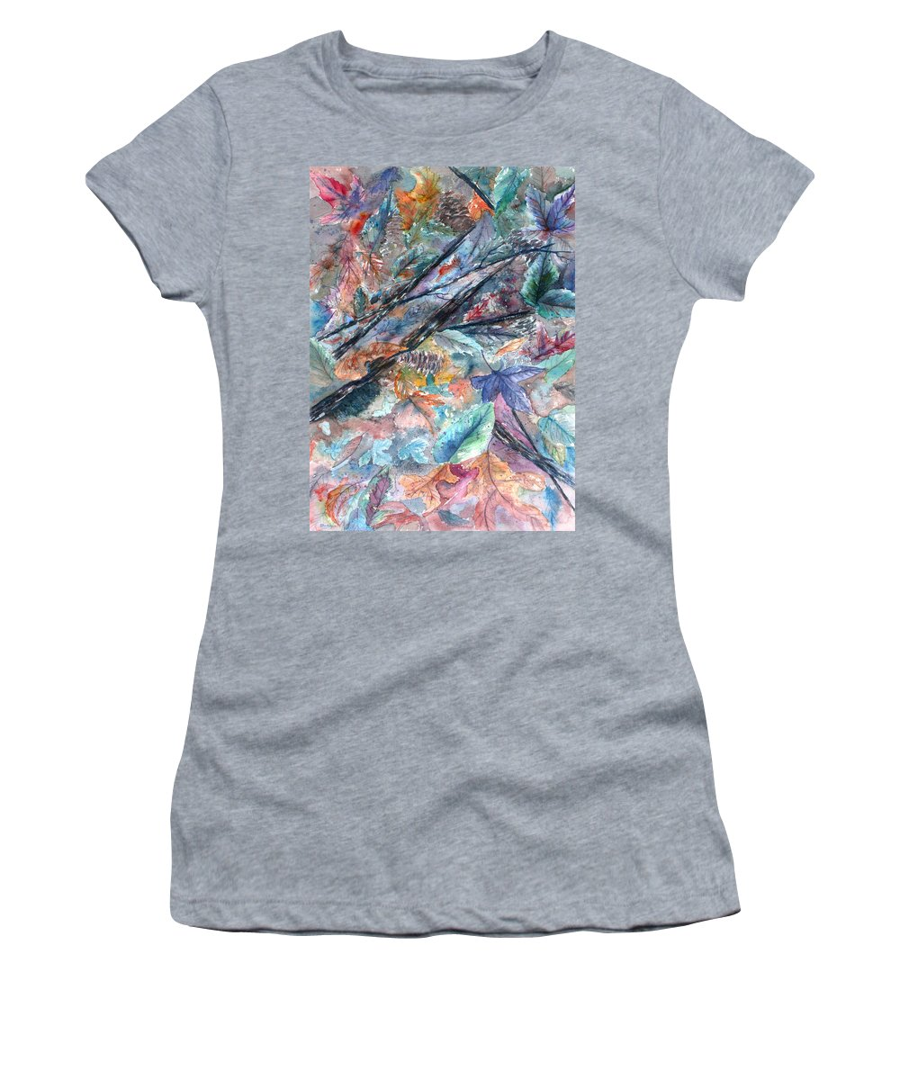 Pine Cones Women's T-Shirt featuring the painting Pattern of Leaves by Ben Kiger