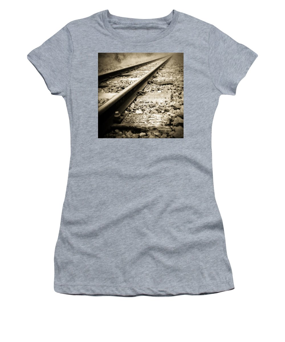Industry Women's T-Shirt (Athletic Fit) featuring the photograph Railway Tracks by Les Cunliffe