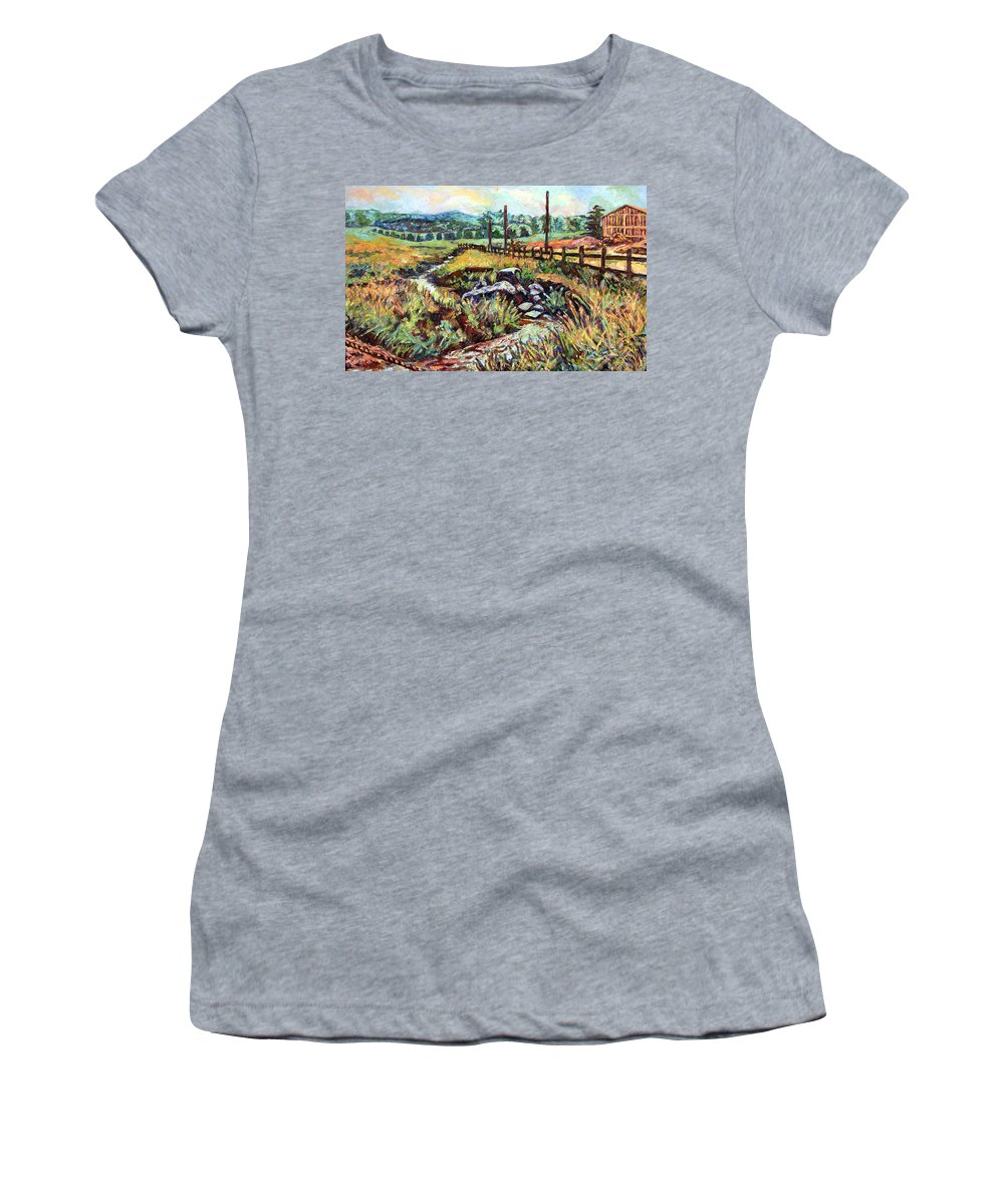 Landscape Paintings Women's T-Shirt (Athletic Fit) featuring the painting Stroubles Creek by Kendall Kessler