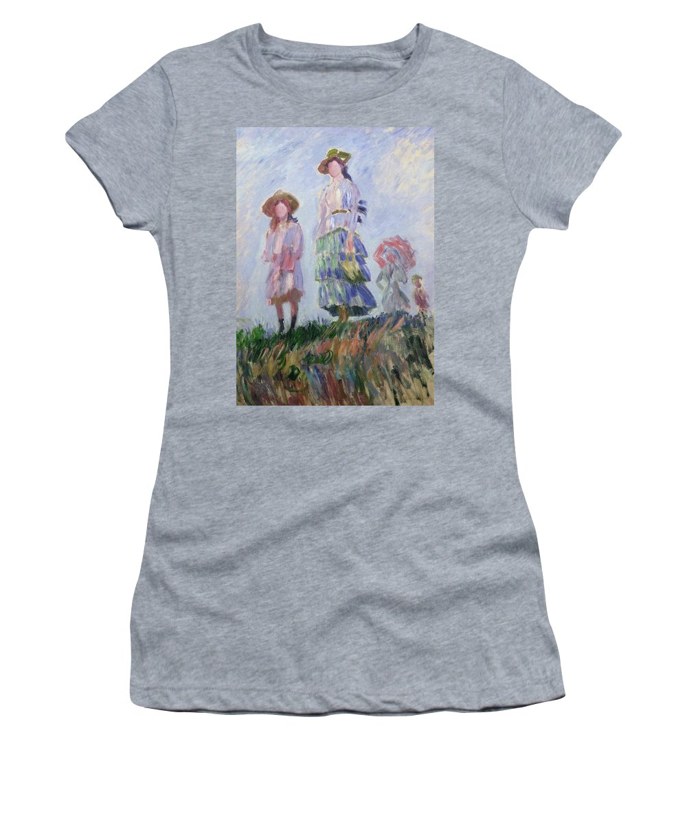French Women's T-Shirt featuring the painting The Walk by Claude Monet