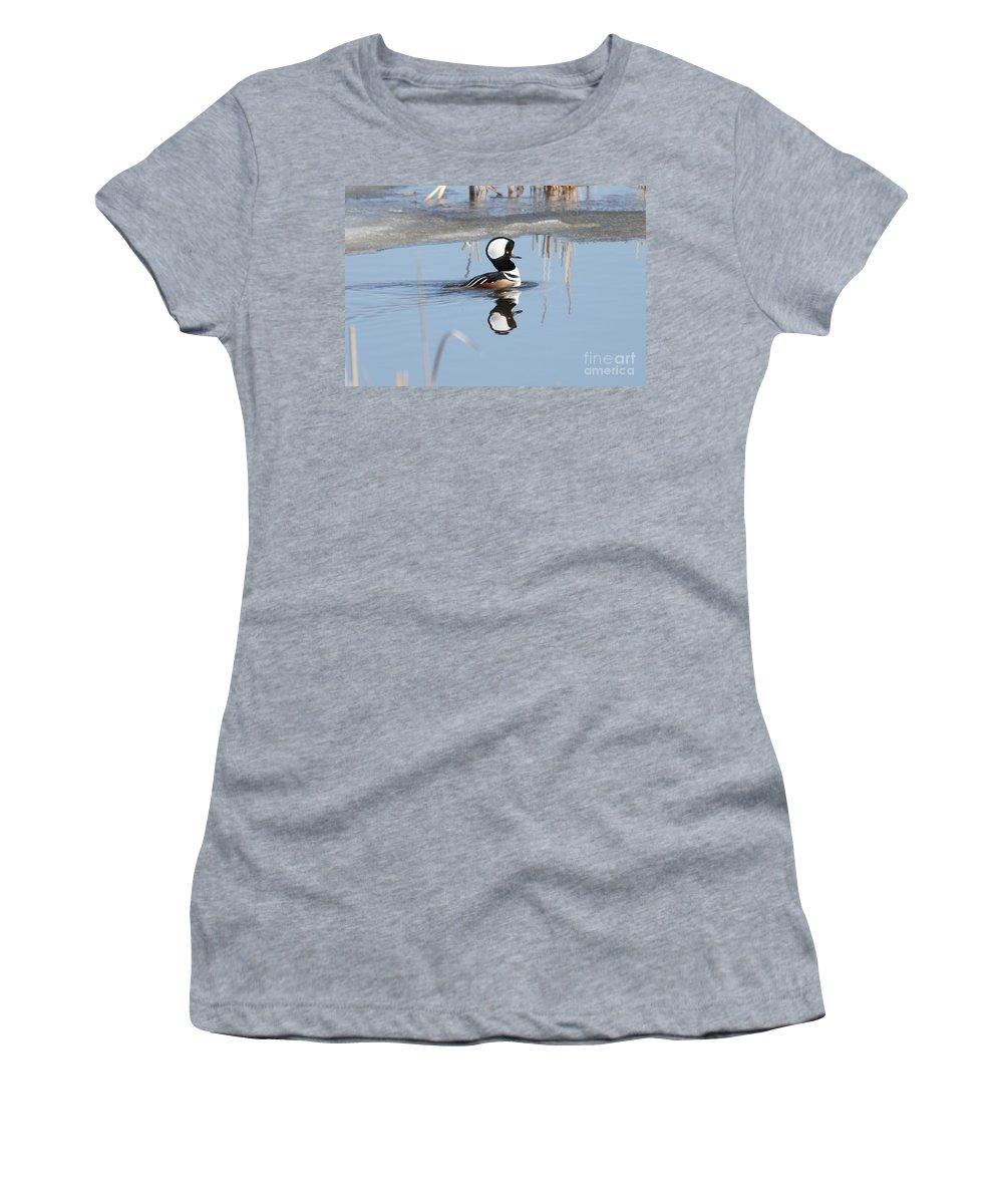Hodded Women's T-Shirt featuring the photograph Hooded Merganser by Lori Tordsen