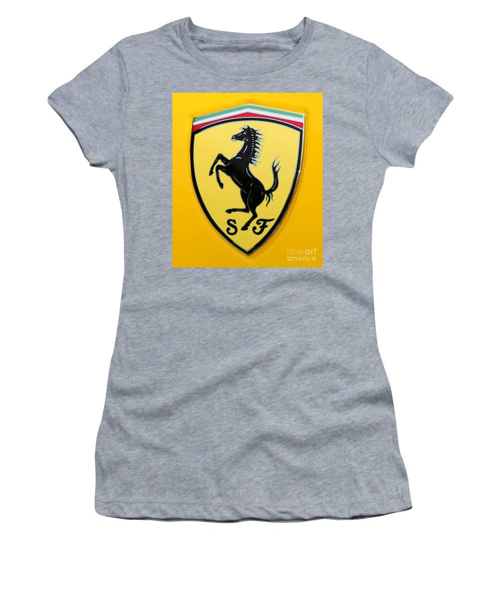 2012 Ferrari 458 Spider Women's T-Shirt (Athletic Fit) featuring the photograph 2012 Ferrari 458 Spider Emblem by Paul Ward