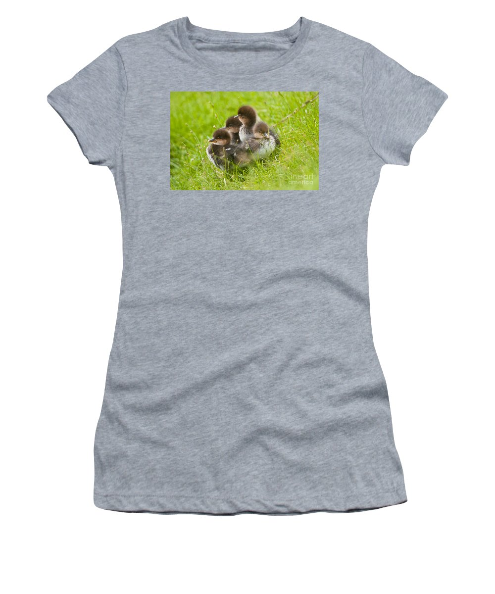 Michael Cummings Women's T-Shirt (Athletic Fit) featuring the photograph Hooded Merganser by Michael Cummings