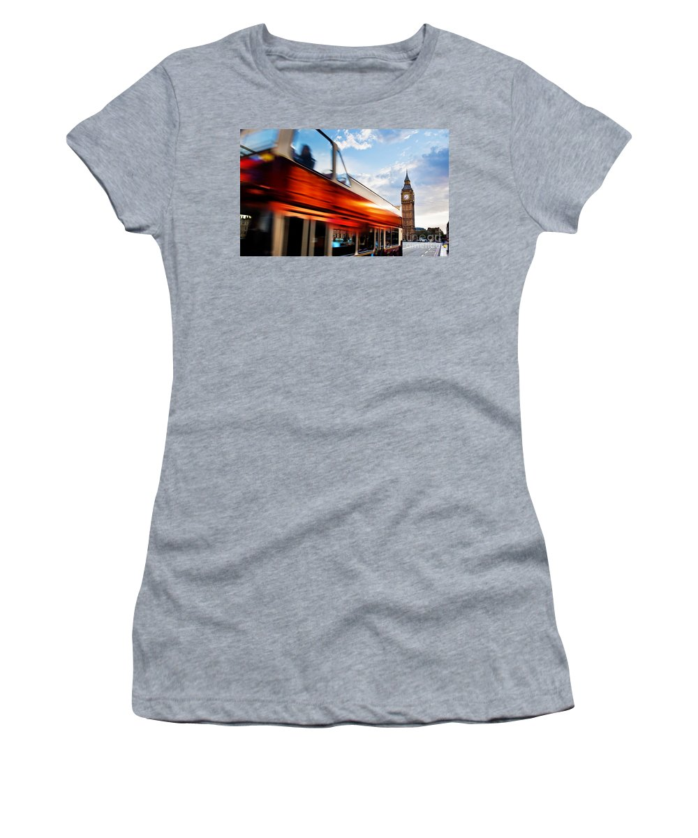 London Women's T-Shirt featuring the photograph London Uk Red Bus In Motion And Big Ben by Michal Bednarek
