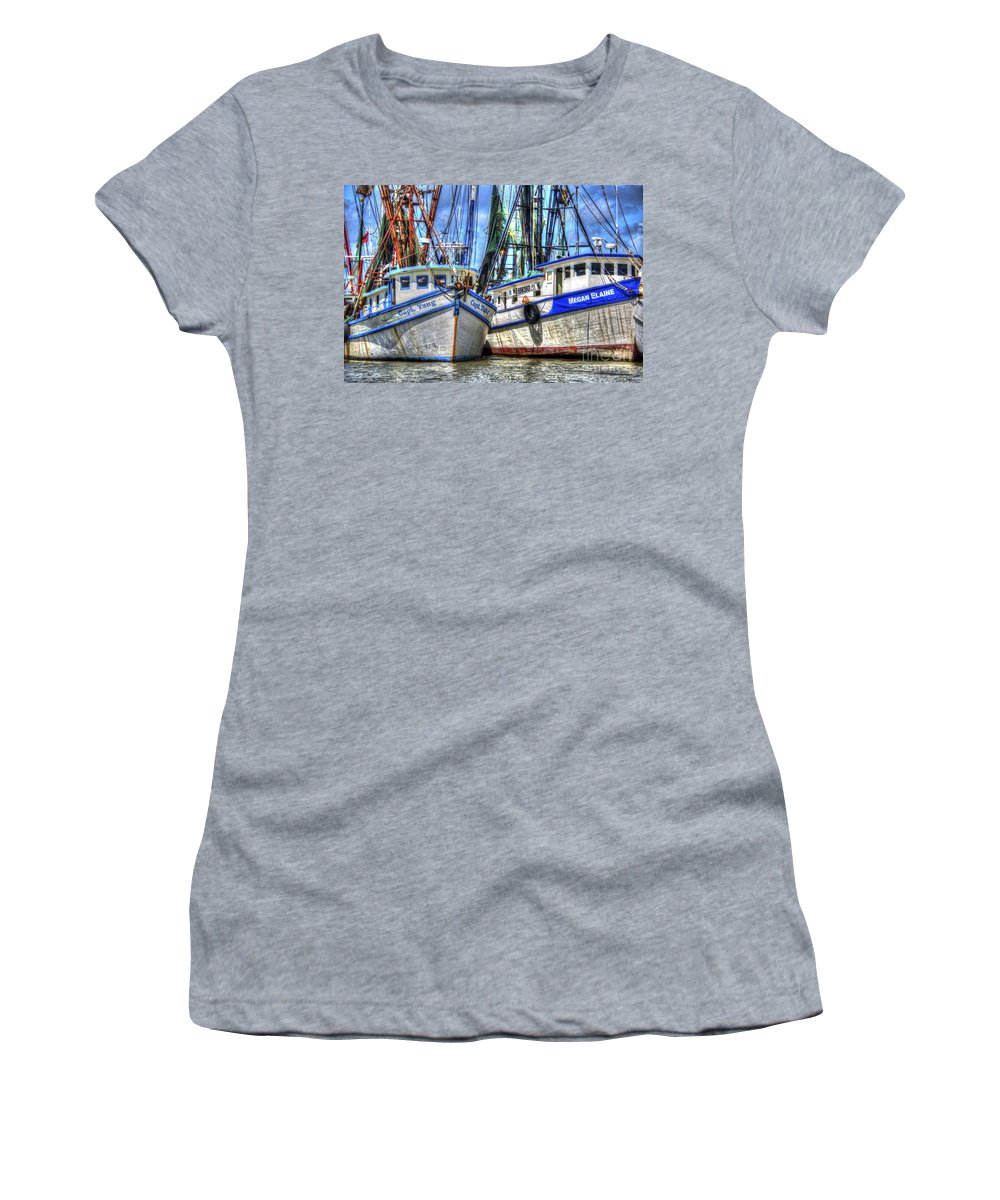 Shrimp Boats Women's T-Shirt featuring the photograph Shrimp Boats Season by Dale Powell